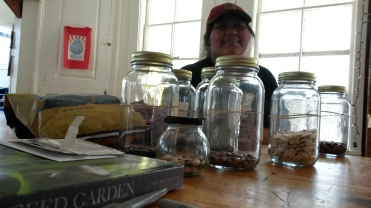 Robyn organizing her seeds before direct seeding them in our kitchen garden.
